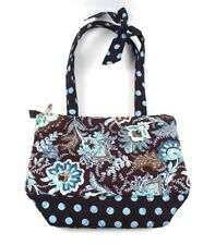 Belvah Quilted Shoulder purse handbag tote Brown Blue Turquoise floral Dots