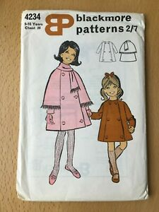 New Unused Vintage Blackmore Sewing Pattern Girl's Coat Size 9-10 Yrs