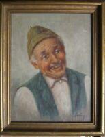 Ritratto Bauer Uomo in Tracht ° Verde Gilet Vecchio Herr ° Firma Illegibile Olio