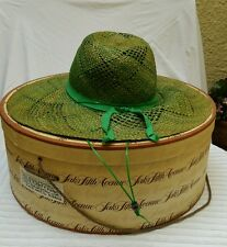 VINTAGE LADIES STRAW SUMMER HAT WITH GREEN RIBBON FROM SAKS