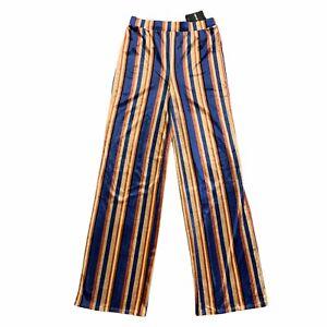 Forever 21 Navy Rust Taupe Soft Velvet Pants Size M All Over Stripe Wide Leg