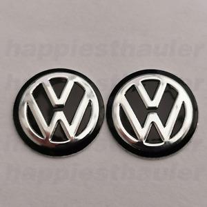 2 x 14mm Black VW Key Fob Remote Logo Badge Metal Sticker - High Quality