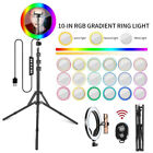 """10"""" RGB LED Ring Light with 2M Tripod Dimmable Lighting Kit Makeup Youtube Live"""