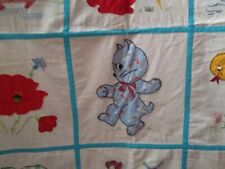 """Vintage Appliqued Baby Quilt - Animals and Flowers - Bunny, Dog, Cat - 34"""" x 65"""""""