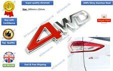 Nuevo logotipo e insignia Pegatina Emblema de 4WD 3D Rojo Metálico Cromado Para SUV tronco 4x4 Calcomanía