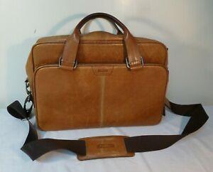 Fossil Briefcase Brown Leather Messenger Bag Laptop Commuter Soft