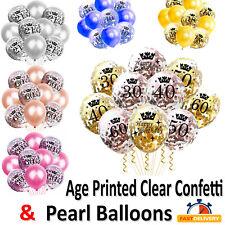12 inch Happy Birthday Latex Confetti Balloons 16/18/30/40/50/60th Age