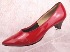 NOS Vtg NANETTE ORIGINALS Red Faux Patent Leather Pump Retro Cocktail Heel 7.5 M