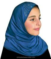 Royal Blue Fashion Islamic Kids Hijab for Girls age From 2 to 7 years old USA