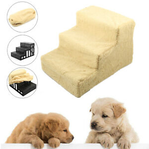 Dog/Puppy/Cat 3 Step Pet Stairs Car/Sofa/Bed Washable Soft Cover Cat Steps