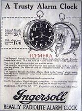 Small 1921 'INGERSOLL' Revally Radiolite Alarm Clock AD - Original Print ADVERT