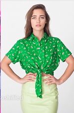 American Apparel Mid Length Tie Up Blouse Petal Showers On Green Rayon XS/S