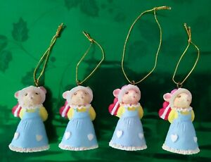 🟢 Vtg Easter Ornaments: Tiny Mouse Figurines Miniature  Porcelain. Pre-owned.