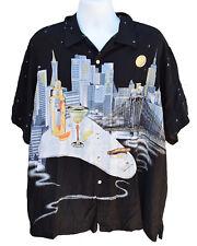 Tori Richard 2XB Mens Short Sleeve Lounge Martini Cigar Cityscape Shirt