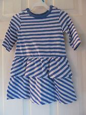 NWT Baby Girls Joe Fresh long Sleeve light blue,White Striped Ruffled dress sz 2