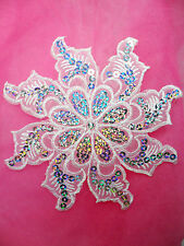 GB119 White Embroidered Flower Silver AB Sequin Applique Patch Motif  5.25""