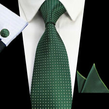 Green Dot Men Tie Accessories Cufflinks Handkerchief Men Formal Necktie Set