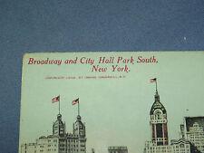 VINTAGE 1912 BROADWAY & CITY HALL PARK SOUTH   NEW YORK   POSTCARD