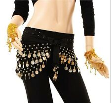Colorful 3 Rows Belly Dance Hip Skirt Scarf Wrap Belt with 128 Golden Coins Blac