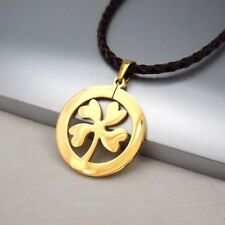 Gold Lucky Four Leaf Clover Pendant Braided Brown Leather Irish Celtic Necklace
