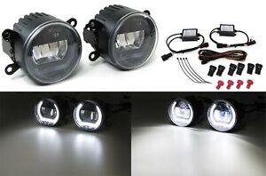 Klarglas LED Nebelscheinwerfer mit Tagfahrlicht universal 90mm  schwarz