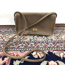 Vintage Coach Crossbody Purse Bag Small Turnlock Brown Nubuck strap drop 23