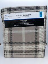 NEW Mainstays Flannel Sheet Set ~ Twin ~ Grey Plaid 100% Cotton