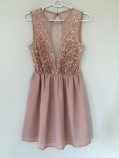 NWT FOREVER 21 BEADED SHEER PEACH FLARE DRESS PARTY COCKTAIL PARTY SIZE S