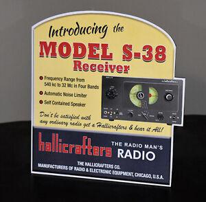 Hallicrafters Model S-38 Receiver Ham Shortwave Radio Stand up Ad Sign