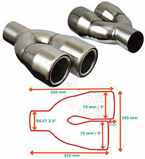 "UNIVERSAL STAINLESS STEEL EXHAUST TAILPIPE PAIR 2.5"" IN YFX-0242-SP–Daihatsu"