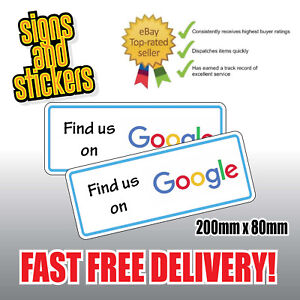 """2 STICKERS """"Find us"""" on Google Social Network Business shop media advertising"""