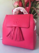 NWT $450 TORY BURCH Thea Mini Tassel Bright Azalea Pebbled Leather Backpack