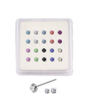 Lot 20 925 Sterling Silver Nose Studs Pin Ring Straight L Bend Prong set 1mm 22G