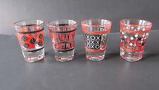 "Set of 4 Classic Games Shot Glasses~Checkers-Backgamon-Tic Tac Toe-Dice~Glass 3"""
