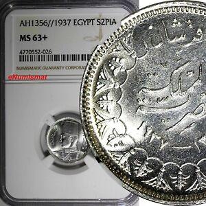 EGYPT Farouk Silver AH1356//1937 2 Piastres NGC MS63+PLUS Mint-500,000 KM#365(6)
