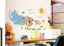 Elephant Monkey Tree Animal Wall Decals Removable Wall Stickers Kids Nursery New