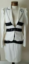 NWT Bebe Suit 3 Piece Blazer Pant Skirt Cream Off-white Ivory Size 8