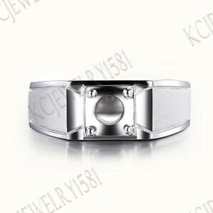 Sterling Silver Round 6.5mm Semi Mount Generous Men's Jewelry Anniversary Ring