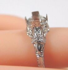 Antique Art Deco Ring Setting Mounting Platinum Hold 6.5-7MM Ring Size 7 UK-N1/2