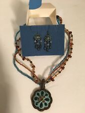 Avon Teal & Topaz Medallion Necklace Set NIB