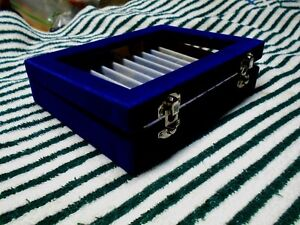 CLEAR TOP MARBLES DISPLAY KEEPER CASE BOX BEAUTIFUL ROYAL BLUE WHITE