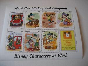 GUYANA   1995  DISNEY CHARACTERS AT WORK-  HARD HAT MICKEY AND COMPANY  SHEETLET