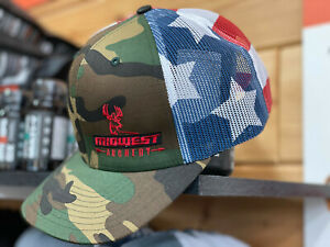 New MIDWEST ARCHERY Hat Cap Adjustable Flag / Camo RICHARDSON 112 Bow BOWHUNTING