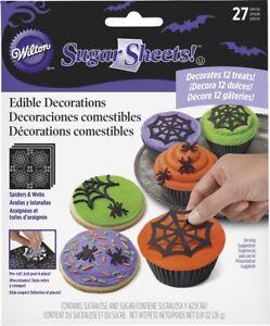 WILTON SPIDER + WEB PRE CUT SUGAR SHEETS HALLOWEEN CUPCAKE TOPPER 27 PIECES NEW