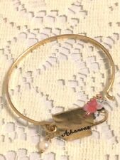 NWT Women Western Arkansas With Pearl Charm Bangle Hook Bracelet Gold Color