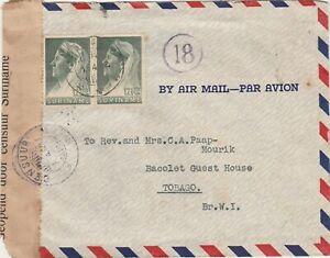 Surinam 1942 censored airmail cover to Scarborough Tobago via Trinidad