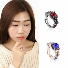 Engagement Promise Blue Sapphire Rose Gold Filled Red Ruby Wedding Rings