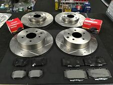 FOR NISSAN SKYLINE R32 R33 R34 BRAKE DISC CROSS DRILLED GROOVED BRAKE DISC PADS