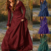 Vintage Womens Medieval Linen Long Sleeve Dress Renaissance Gothic Dress Gifts