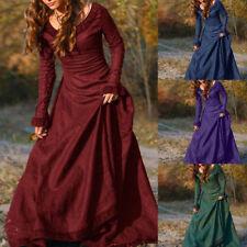 Vintage Women Medieval Linen Long Sleeve Dress Renaissance Gothic Dress